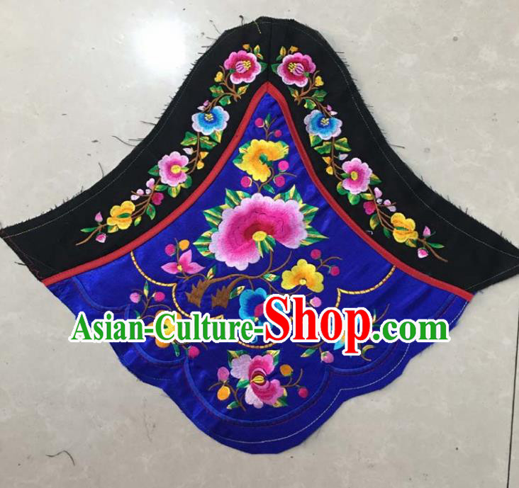 Chinese Traditional Embroidered Peony Royalblue Stomachers Applique National Dress Patch Embroidery Cloth Accessories