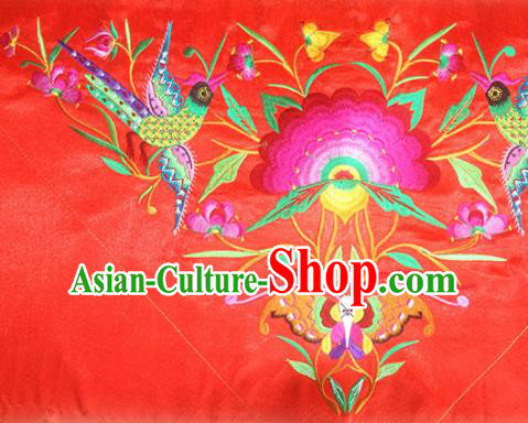 Chinese Traditional National Embroidered Phoenix Peony Red Applique Dress Patch Embroidery Cloth Accessories
