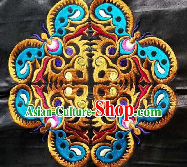 Chinese Traditional Embroidered Light Blue Butterfly Applique National Dress Patch Embroidery Cloth Accessories