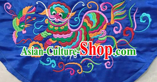 Chinese Traditional Embroidered Kylin Blue Applique National Dress Patch Embroidery Cloth Accessories