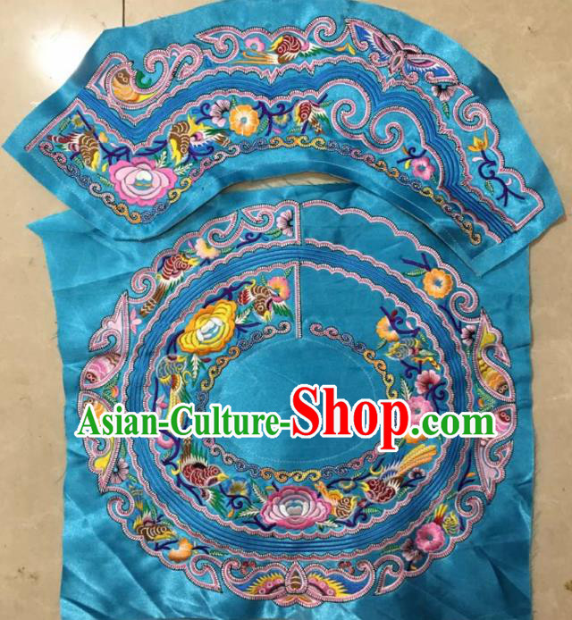 Chinese Traditional Embroidered Peony Birds Blue Applique National Dress Patch Embroidery Cloth Accessories