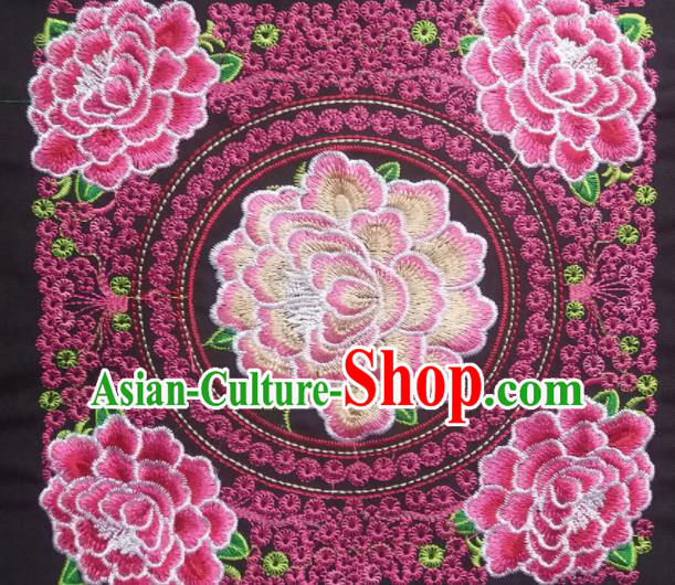 Chinese Traditional Embroidered Peony Rosy Applique National Dress Patch Embroidery Cloth Accessories
