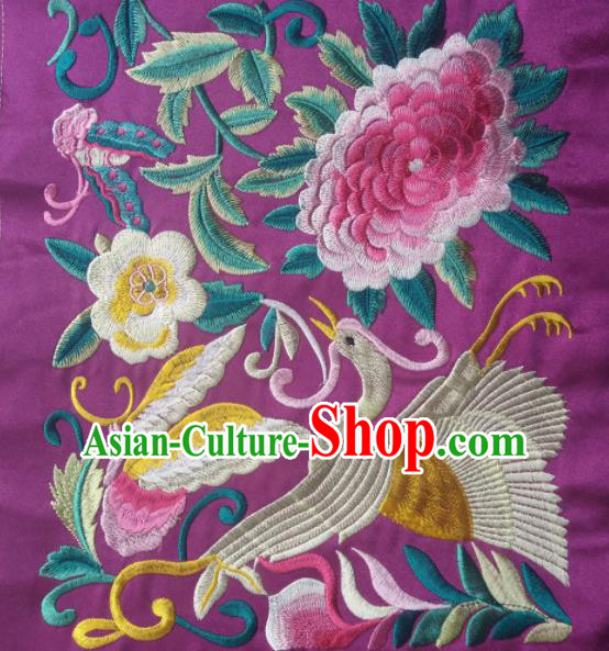 Chinese Traditional Embroidered Peony Crane Purple Applique National Dress Patch Embroidery Cloth Accessories