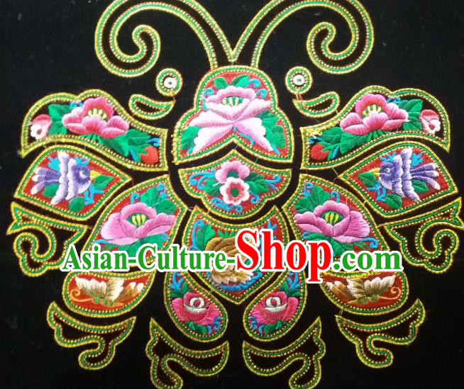 Chinese Traditional Embroidered Frog Butterfly Applique National Dress Patch Embroidery Cloth Accessories