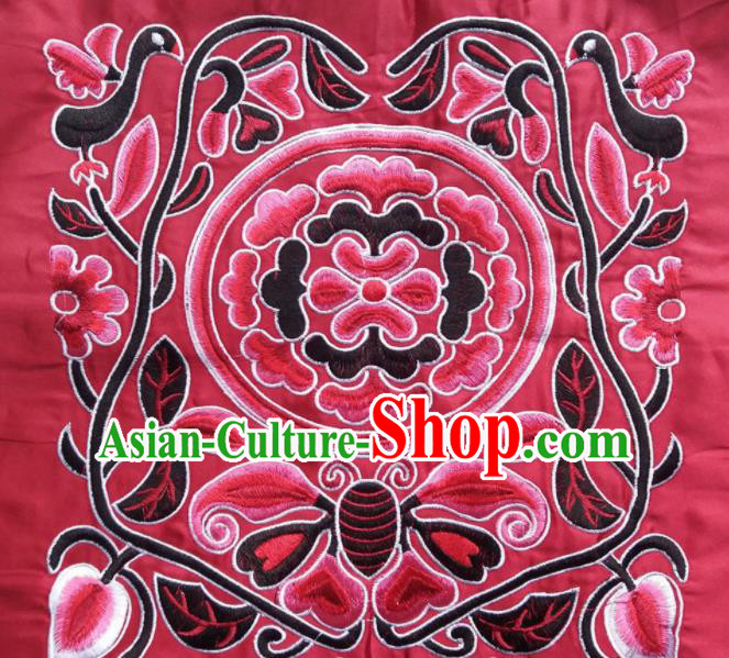 Chinese Traditional Embroidered Butterfly Flowers Red Applique National Dress Patch Embroidery Cloth Accessories