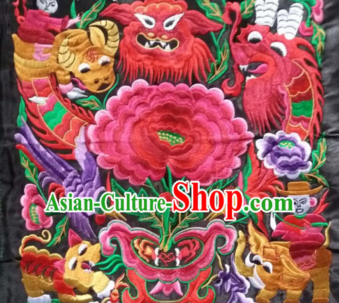 Chinese Traditional Embroidered Tiger Peony Applique National Dress Patch Embroidery Cloth Accessories