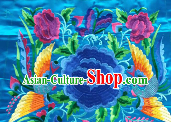 Chinese Traditional Embroidered Blue Peony Butterfly Applique National Dress Patch Embroidery Cloth Accessories
