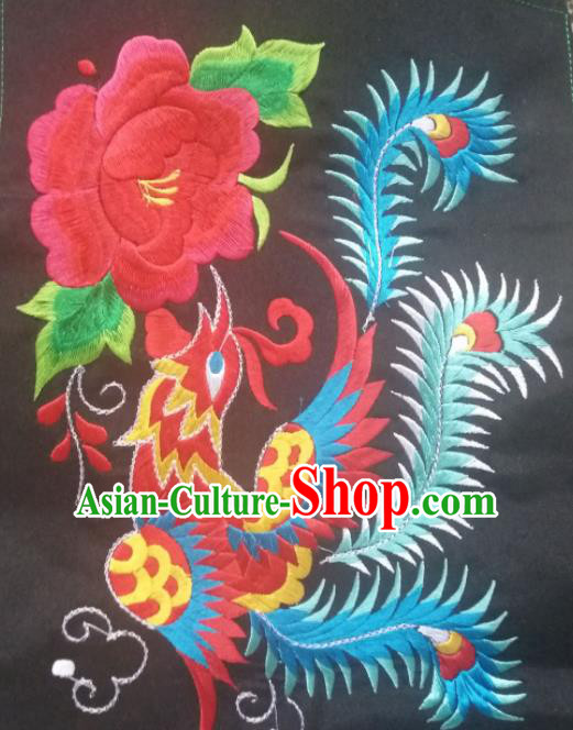 Chinese Traditional Embroidered Red Peony Phoenix Applique National Dress Patch Embroidery Cloth Accessories