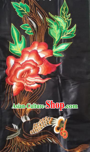 Chinese Traditional Embroidered Red Peony Applique National Dress Patch Embroidery Cloth Accessories