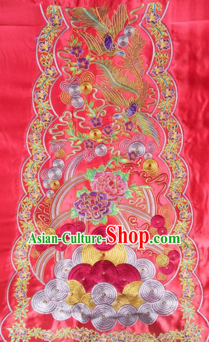 Chinese Traditional Embroidered Peony Phoenix Red Applique National Dress Patch Embroidery Cloth Accessories
