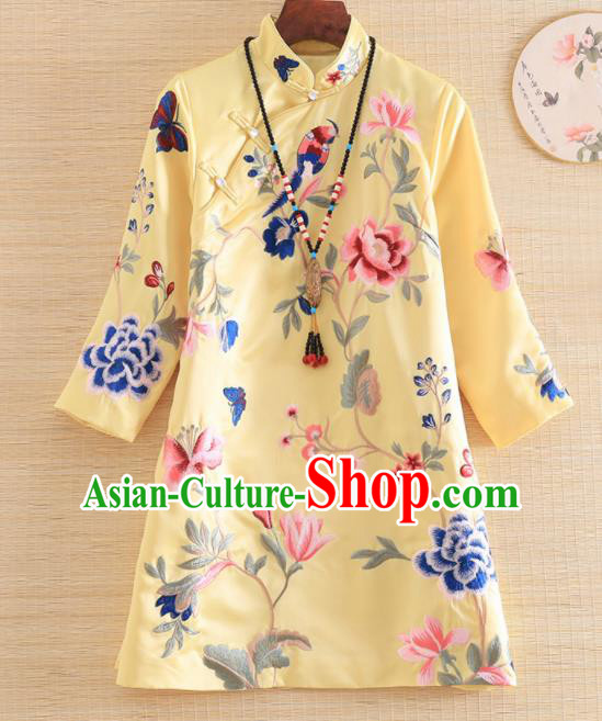 Chinese Traditional Tang Suit Embroidered Peony Yellow Blouse National Costume Qipao Upper Outer Garment for Women