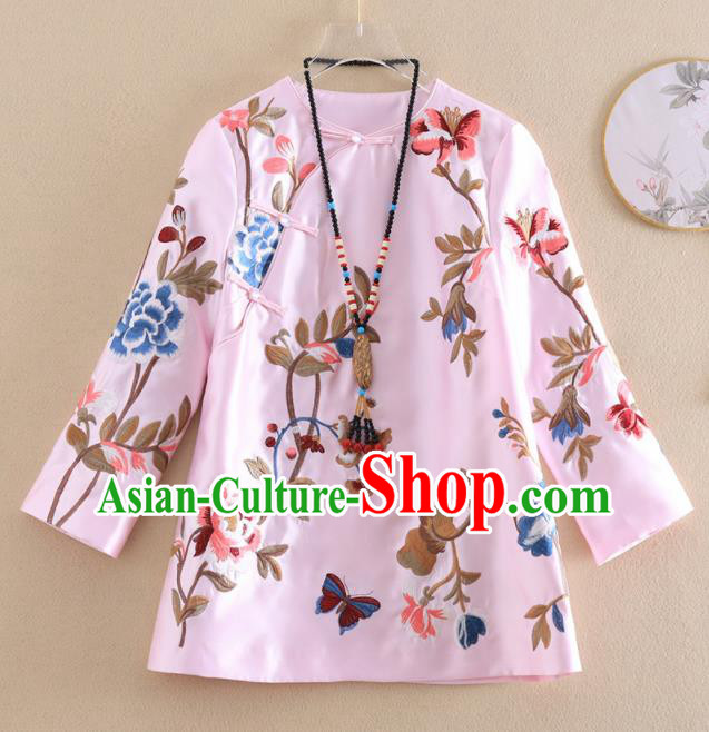 Chinese Traditional Tang Suit Embroidered Peony Pink Shirt National Costume Qipao Upper Outer Garment for Women
