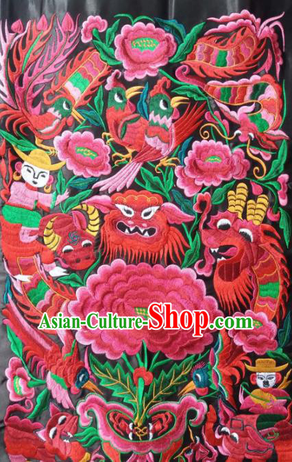 Chinese Traditional Embroidered Dragon Phoenix Applique National Dress Patch Embroidery Cloth Accessories