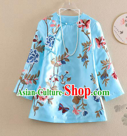 Chinese Traditional Tang Suit Embroidered Peony Blue Shirt National Costume Qipao Upper Outer Garment for Women