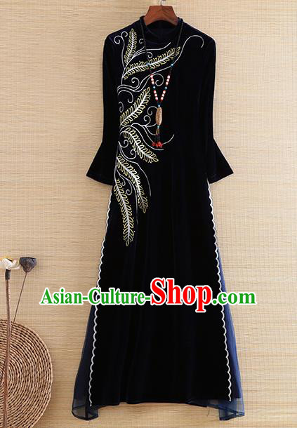 Chinese Traditional Tang Suit Embroidered Navy Velvet Cheongsam National Costume Qipao Dress for Women
