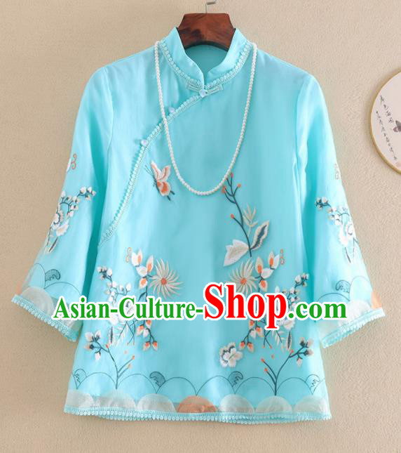 Chinese Traditional Tang Suit Embroidered Chrysanthemum Blue Shirt National Costume Qipao Upper Outer Garment for Women