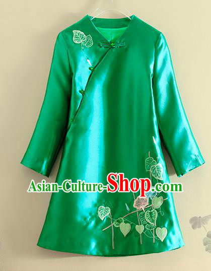Chinese Traditional Tang Suit Embroidered Petunia Green Jacket National Costume Qipao Upper Outer Garment for Women