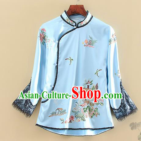 Chinese Traditional Tang Suit Embroidered Blue Shirt National Costume Qipao Upper Outer Garment for Women