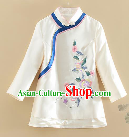 Chinese Traditional Tang Suit Embroidered White Satin Shirt National Costume Qipao Upper Outer Garment for Women