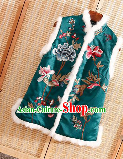 Chinese Traditional Embroidered Peony Green Vest National Dress Embroidery Waistcoat for Women
