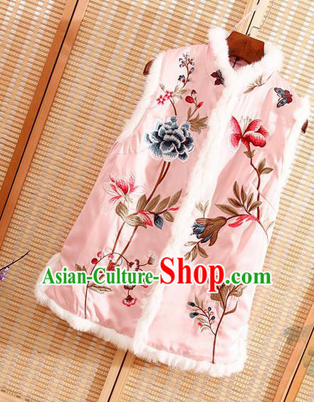 Chinese Traditional Embroidered Peony Pink Vest National Dress Embroidery Waistcoat for Women