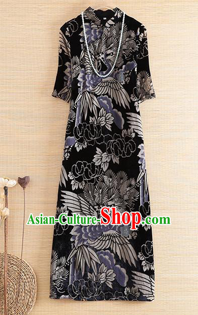 Chinese Traditional Printing Crane Pine Black Cheongsam National Costume Qipao Dress for Women