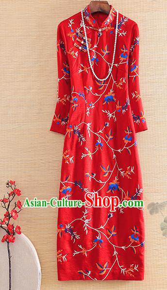 Chinese Traditional Embroidered Flowers Red Cheongsam National Costume Qipao Dress for Women