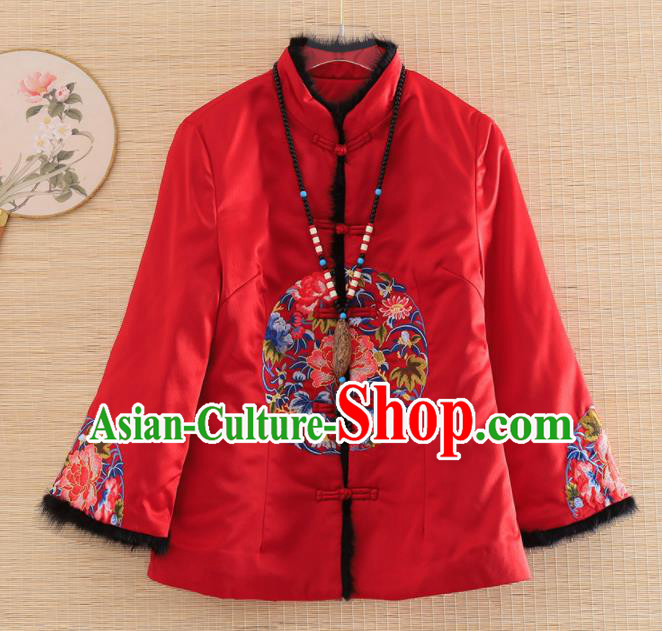 Chinese Traditional Embroidered Peony Red Jacket National Costume Qipao Upper Outer Garment for Women