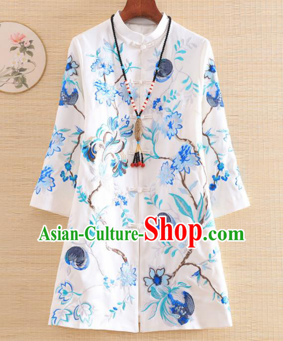 Chinese Traditional Embroidered White Jacket National Costume Qipao Upper Outer Garment for Women