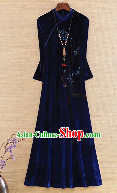 Chinese Traditional Royalblue Velvet Cheongsam National Costume Qipao Dress for Women
