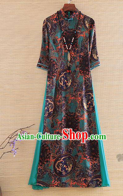 Chinese Traditional Tang Suit Printing Green Cheongsam National Costume Qipao Dress for Women