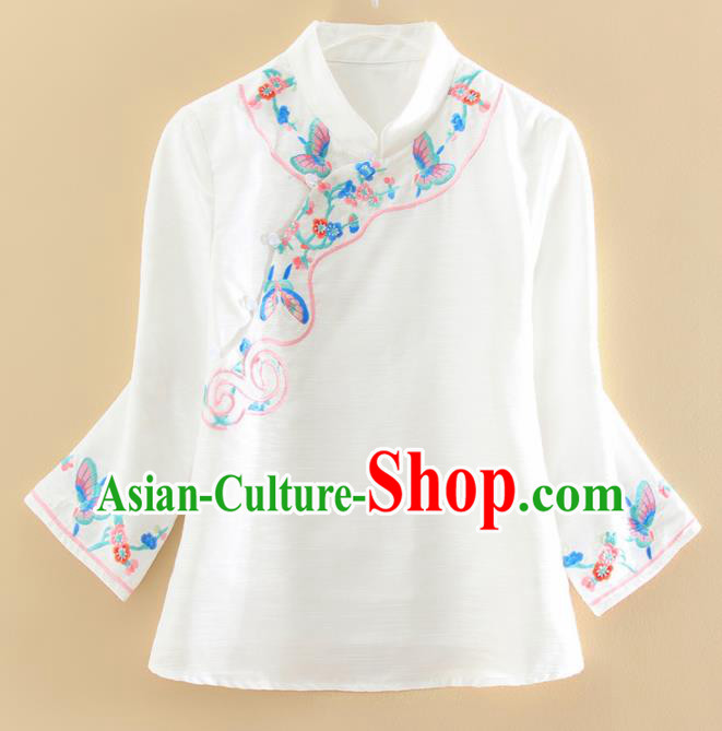 Chinese Traditional Tang Suit Embroidered Butterfly White Shirt National Costume Qipao Upper Outer Garment for Women