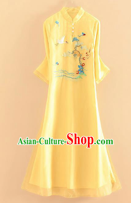 Chinese Traditional Tang Suit Embroidered Crane Pine Plum Yellow Cheongsam National Costume Qipao Dress for Women