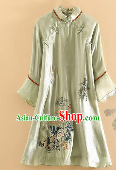 Chinese Traditional Tang Suit Embroidered Lotus Green Blouse National Costume Qipao Upper Outer Garment for Women
