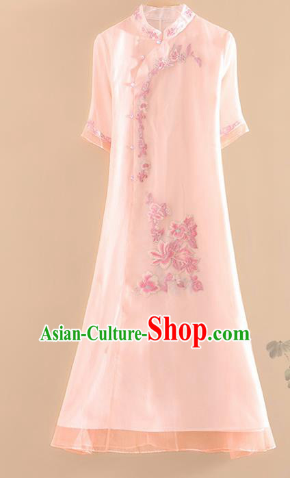 Chinese Traditional Tang Suit Embroidered Light Pink Cheongsam National Costume Qipao Dress for Women