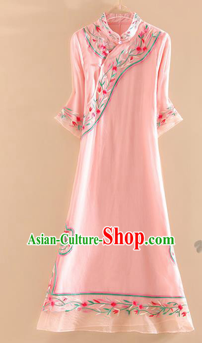 Chinese Traditional Tang Suit Embroidered Flowers Pink Cheongsam National Costume Qipao Dress for Women