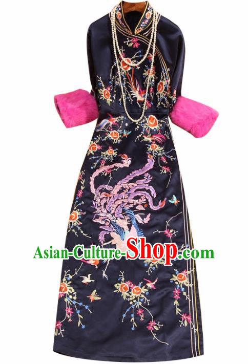 Traditional Chinese National Embroidered Phoenix Navy Qipao Dress Tang Suit Cheongsam Costume for Women