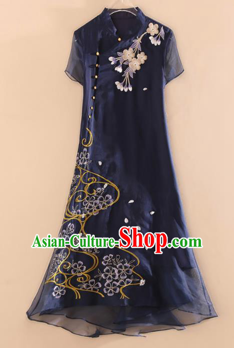 Chinese Traditional Tang Suit Embroidered Navy Organza Cheongsam National Costume Qipao Dress for Women