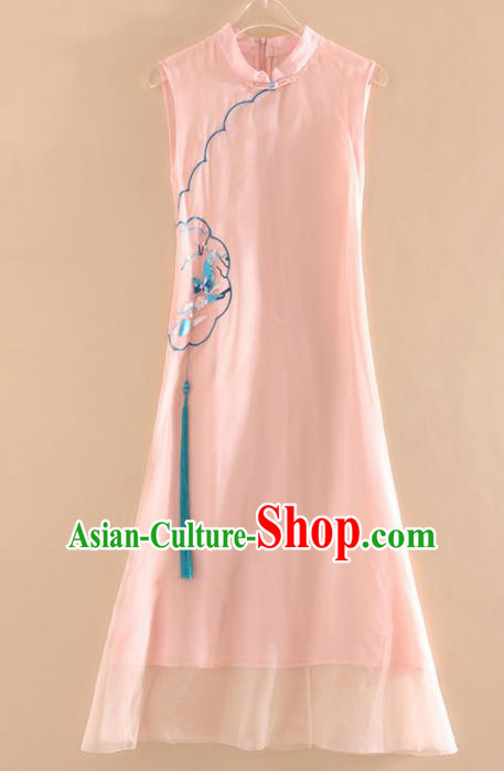 Chinese Traditional Tang Suit Embroidered Butterfly Plum Pink Cheongsam National Costume Qipao Dress for Women