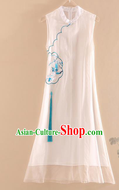 Chinese Traditional Tang Suit Embroidered Butterfly Plum White Cheongsam National Costume Qipao Dress for Women