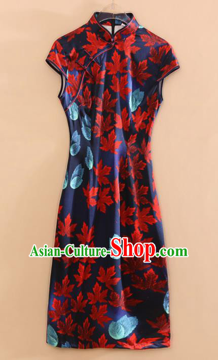 Chinese Traditional Tang Suit Printing Maple Leaf Navy Cheongsam National Costume Qipao Dress for Women
