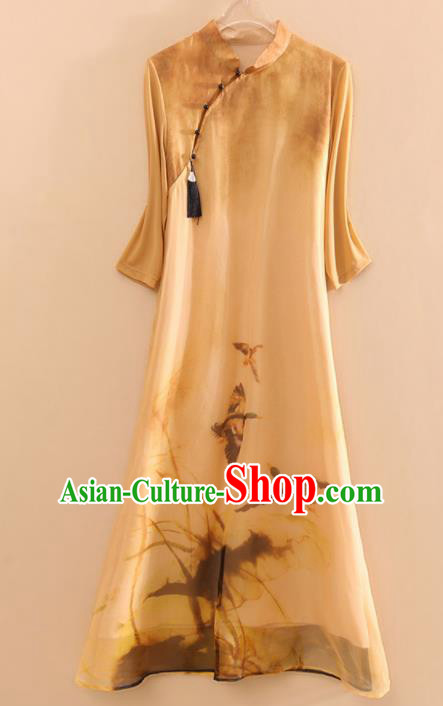 Chinese Traditional Tang Suit Ink Painting Organza Cheongsam National Costume Qipao Dress for Women