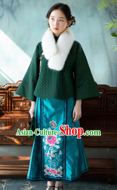 Chinese Traditional Tang Suit Green Silk Jacket National Costume Republic of China Qipao Upper Outer Garment for Women