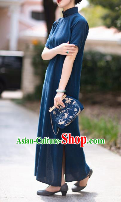 Traditional Chinese National Navy Blue Silk Qipao Dress Tang Suit Cheongsam Costume for Women