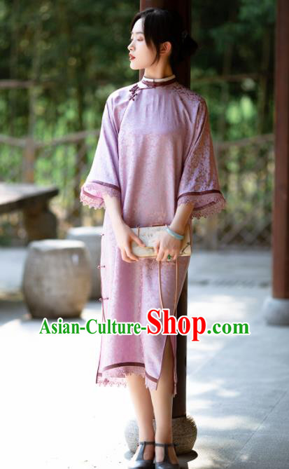 Traditional Chinese National Lilac Lace Qipao Dress Tang Suit Cheongsam Costume for Women