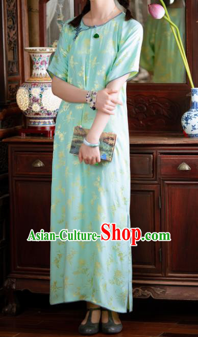 Traditional Chinese National Printing Light Green Qipao Dress Tang Suit Cheongsam Costume for Women