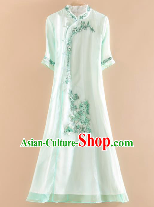 Chinese Traditional Tang Suit Embroidered Light Green Cheongsam National Costume Qipao Dress for Women