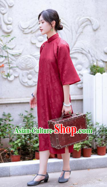 Traditional Chinese National Purplish Red Silk Qipao Dress Tang Suit Cheongsam Costume for Women
