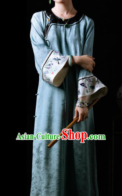Traditional Chinese Late Qing Dynasty Blue Qipao Dress National Tang Suit Cheongsam Costume for Women