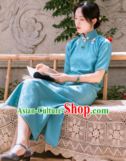 Traditional Chinese Late Qing Dynasty Lake Blue Silk Qipao Dress National Tang Suit Cheongsam Costume for Women